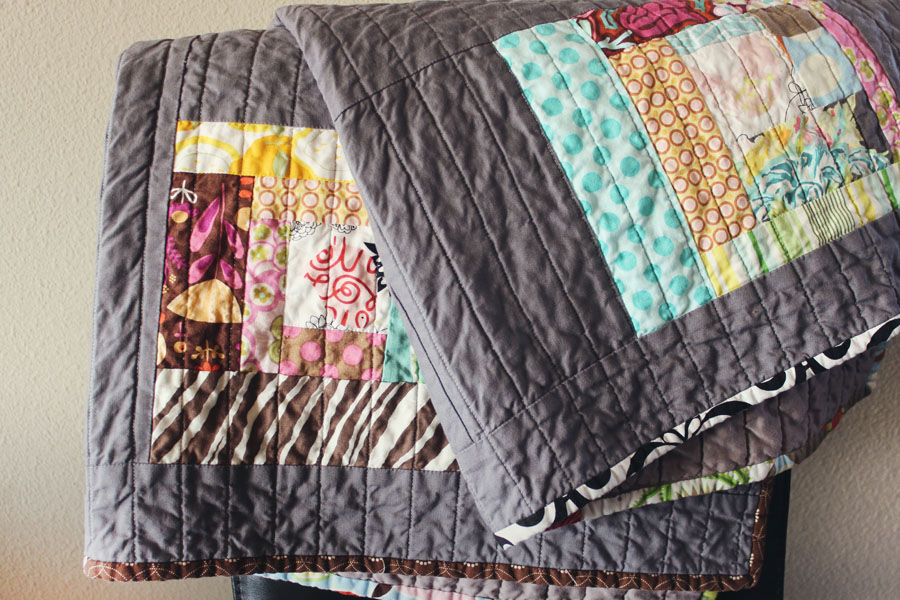 grey colored quilt